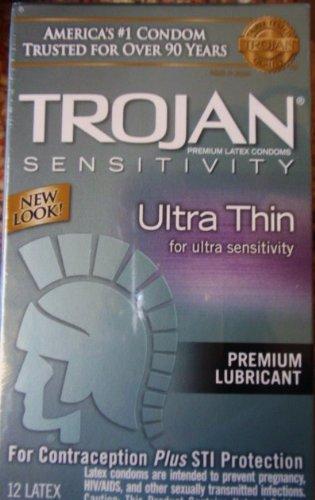 Trojan sensibilité Préservatifs ultra minces, protection contre les IST, premium Lubrifiant 12 Count (2 Pack)