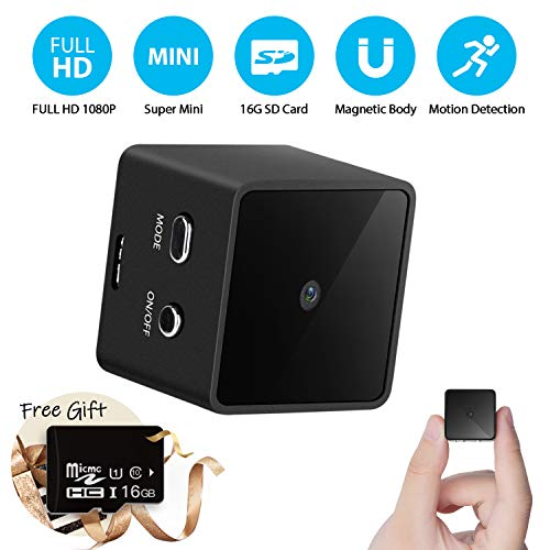 Mini Cube Spy Hidden Camera Full HD 1080P with Motion Detection, Metal Housing Magnetic Body, 16G SD Card Perfect Video Surveillance Camera Nanny Cam for Indoor/Outdoor Security