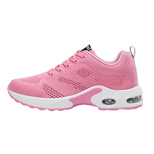 Hibote Zapatillas Deportivas atléticas para Mujer Zapatos Ligeros para Caminar con Cordones Ocasionales - Gimnasio Transpirable Gimnasio Running Sneakers Rosado