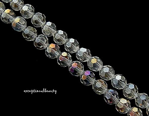65 Celestial Crystal Aurora Borealis AB Honeycomb Faceted 5mm Round Ball Beads ()