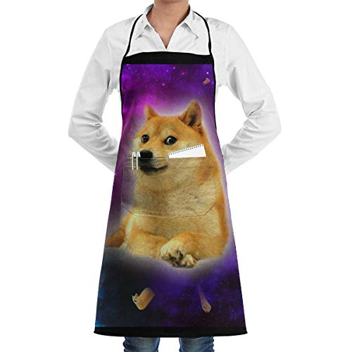 LOVE CORNER Men Women Professional Chef Bib Aprons Kitchen Apron Water Resistant Apron with Visible Center Pocket for Cooking, Grill, Baking, BBQ, Holidays, (Purple Space Doge)