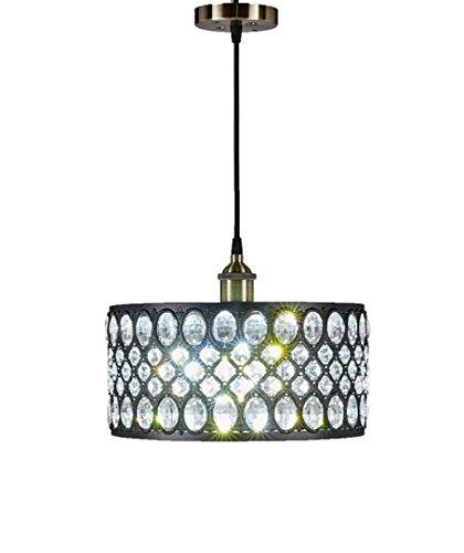 Diamond Life 1-light Black Finish Modern Crystal Chandelier Pendant Hanging Lighting Fixture