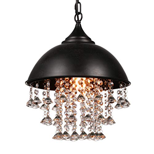 (BAYCHEER Crystal Pendant Lighting Vintage Style Iron Shaded Glittering Large Beads Hanging Lamp Chandelier with 1 E26 Bulb Socket, Black)