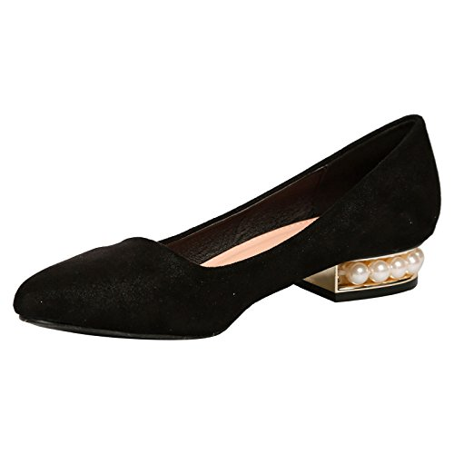 Feet First Fashion Marilyn Womens Low Heels Pearl Ladies Court Shoes Dolly Style Black Faux Suede O81DQewR