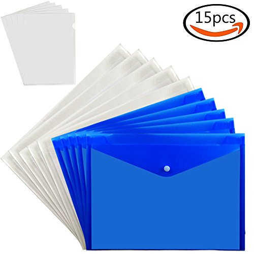 Designer Colored Hanging File Folders (JPSOR 15 A4 Plastic Folders Document File Bags , 10 with Snap Button & 5 Filing Envelopes, Water & Tear Resistant)