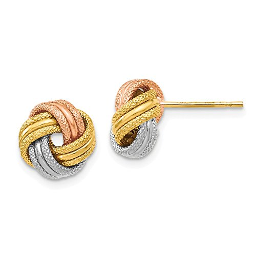 8.5mm 14k Tri-Color Gold Polished & Textured Love Knot Stud Earrings