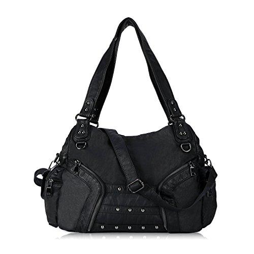 Women Soft Leather Handbag Large Capacity Crossbody Shoulder Bag for Ladies Convertible Hobo Purse Black