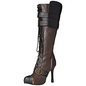 Ellie Shoes Women's 420 Quinley 4″ Knee High Steampunk Boot with Laces, Brown, 7 M US