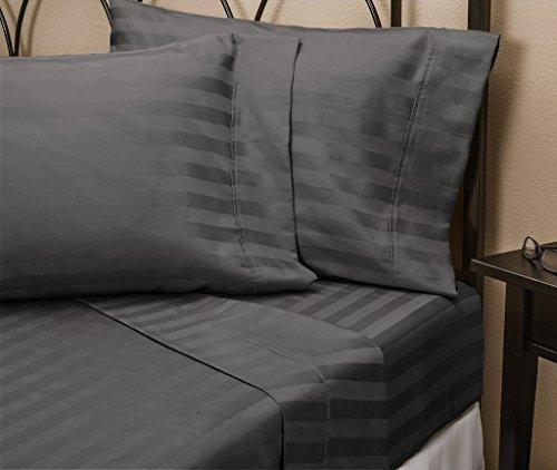 (Rajlinen Luxury Egyptian Cotton 650-Thread-Count Sateen Queen Sheet Set, Dark Grey Stripe Super Soft)