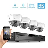 Cheap Amcrest 4K 8CH Security Camera System w/ 4K (8MP) NVR, (4) x 4K (8-Megapixel) IP67 Weatherproof Metal Dome POE IP Cameras (3840×2160),Pre-Installed 2TB Hard Drive (White)