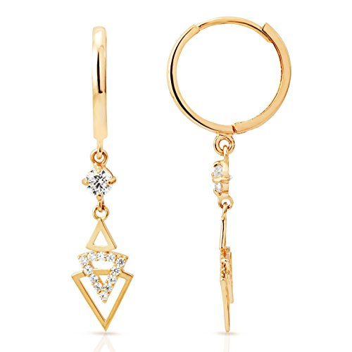 Geometric Triangle CZ Dangling Earrings in 14K Yellow Gold by Jewel Connection