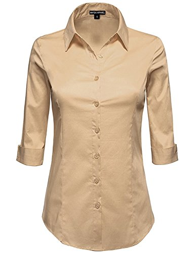 MAYSIX APPAREL Plus Size 3/4 Sleeve Stretchy Button Down Collar Office Formal Shirt Blouse For Women Khaki - Khaki Blouse