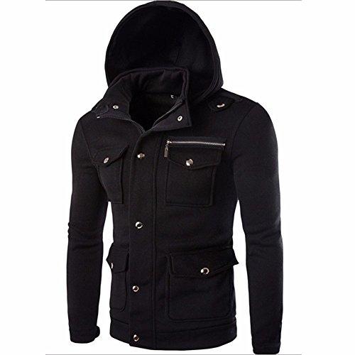 manteaux chauds manteau roulé de à vent occasionnel laine poches zippées bouton col capuche court de nombreuses veste de coupe Manteau veste noir manteau laine cardigan manteaux EeHI9YWD2