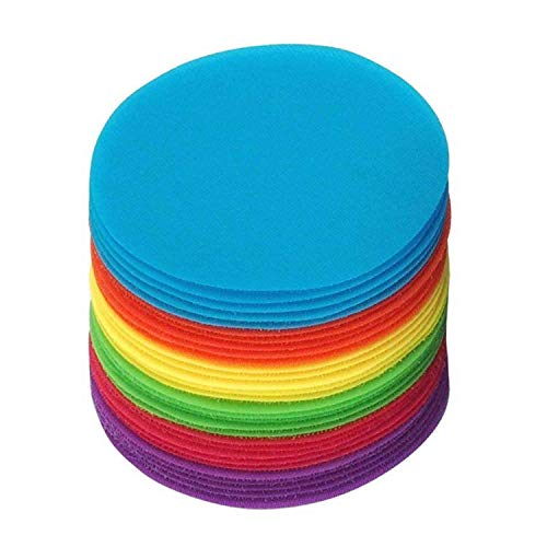 Carpet Floor Markers | Hook and Loop Pack of 30 Circles with 6 Multiple Colors | Carpet Sitting Spots are Great for Classrooms, Games, and Learning Activities | Merhoff and Larkin