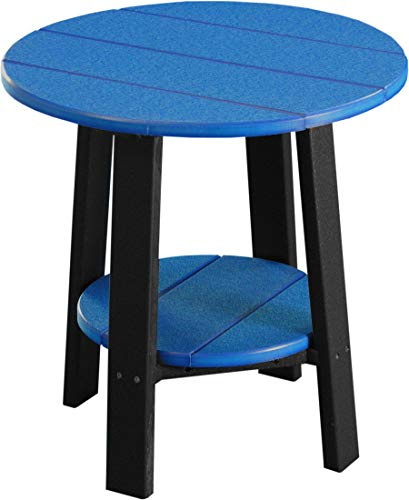 LuxCraft Recycled Plastic Deluxe End Table with Shelf, American Made, Blue