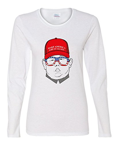 MAGA Hat Kim Jong Un Women's Long Sleeve Tee Funny North Korea USA Donald Trump White L