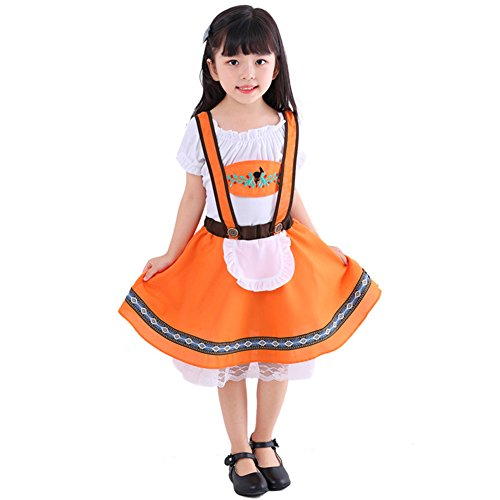 IWEMEK Girls Boys Toddlers Oktoberfest Costume Bavarian Beer Festival Kids Fancy Dress Uniform T-Shirt Tops and Dress Girls 2PCS Outfits - Orange 5-6 Years -