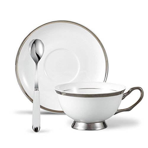 White China Teacup - Panbado 3 Piece Bone China 6.8 oz Tea Cup and Saucer Set with Spoon, Ivory White Silver Rimmed