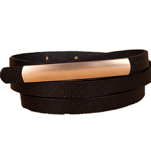 (Exquisite Fashion Women Belts Cow Leather Alloy Buckle Desgin,Black)