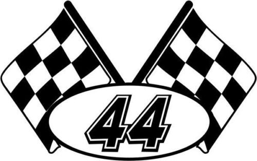 Checkered Flag Nascar Racing Number 44 Graphic Car Truck Window Decal Sticker - Die cut vinyl decal for windows, cars, trucks, tool boxes, laptops, MacBook - virtually any hard, smooth - Racing Nascar Checkered Flag