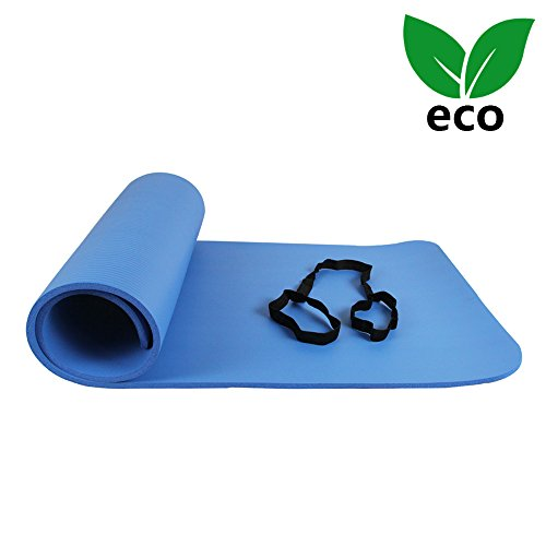 1 Inch Thick Floor Mat - Ativafit Yoga Exercise Floor Mat Large Padded Extra Thick 12mm Non-Slip Pilates Workout Exercise Mat (Blue)