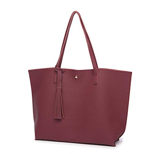 Leather Red Tassel Handbags Women Hobo Tote Fringe Bags Bag with Wine for Large Bag Ladies gAxq16Ex