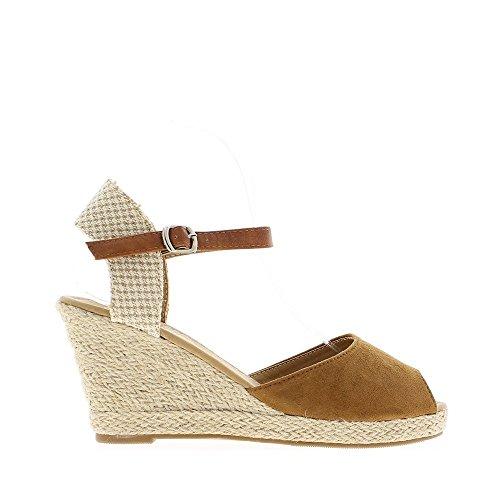 Camel cuña sandalias de tacón de 8,5 cm aspecto ante