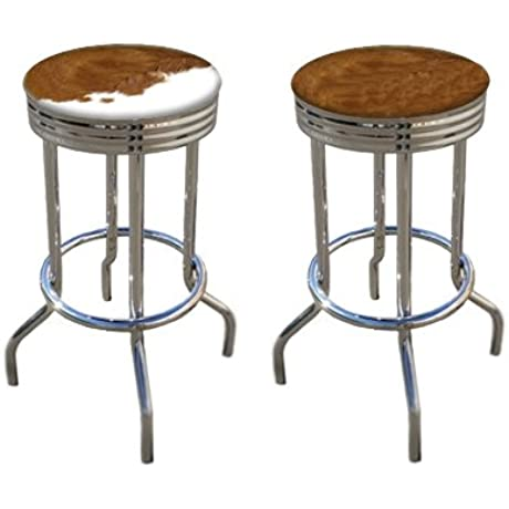 Rustic Man Cave Authentic Cowhide Leather Cowboy Bar Stools Brown And White Hair On Hide 29 Set Of 2