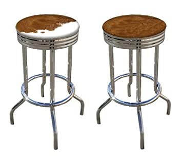 Rustic Man Cave Authentic Cowhide Leather Cowboy Bar Stools Brown And White  Hair On Hide 29u0026quot