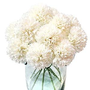 Jim`s Cabin Artificial Flowers 10Pcs Fake Flowers Silk Artificial Chrysanthemum Ball Hydrangea Bridal Wedding Bouquet for Home Garden Party Wedding Decor