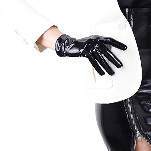 DooWay 8-inch Wrist Long Short Shiny Faux Leather Black Women Gloves Cosplay Gothic Party Show Wearing