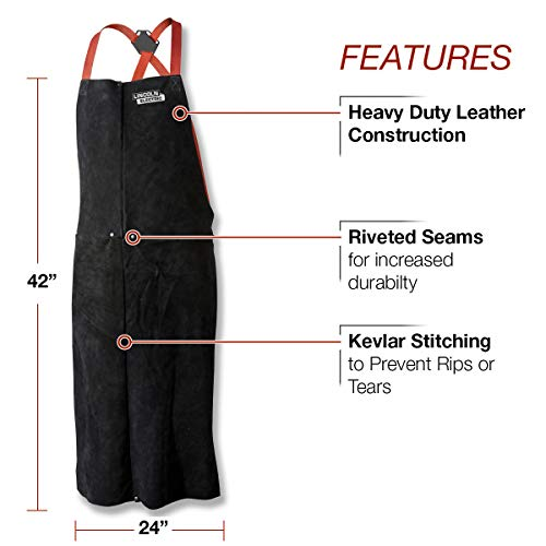 Lincoln Electric Leather Welding Apron | 42'' Length | Adjustable Fit | Black |K3110-ALL by Lincoln Electric (Image #1)