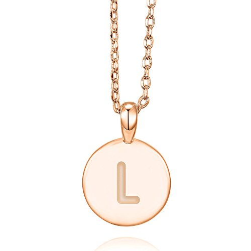 (PAVOI 14K Rose Gold Plated L Initial Alphabet Pendant Necklace)