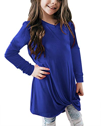Bulawoo Girls Clothing Casual Long Sleeve Knot Front Tunic Tops Blouse Little Girls Loose Fashion Tee Shirts Size 4-5 Blue2 ()