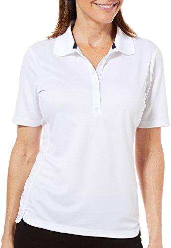 IZOD Golf Womens Tulip Hem Polo Shirt X-Large Bright White