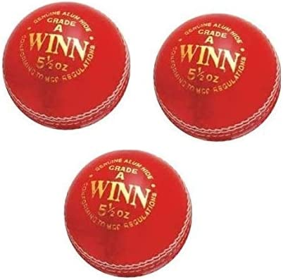 3M CW Winn - Pelota de críquet de Piel auténtica, 3 Unidades ...