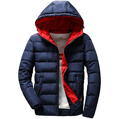 iYBUIA Men's Bright Color Slim Casual Warm Jacket Hooded Winter Thick Coat Parka Overcoat Hoodie