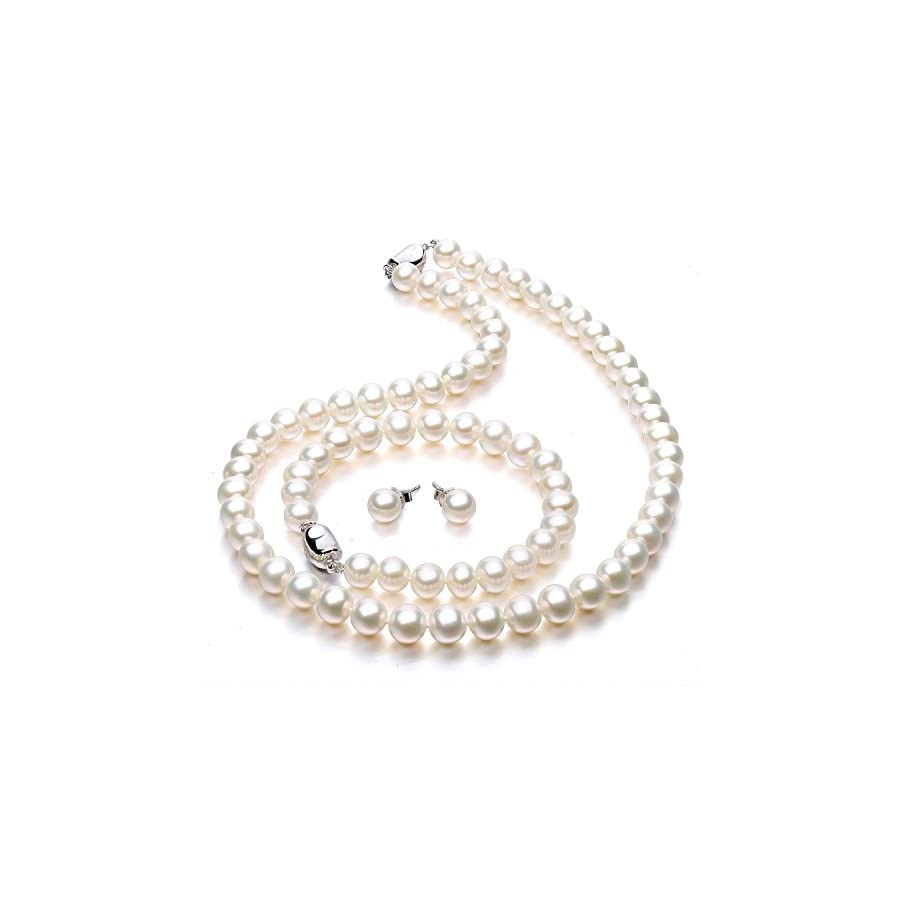 Freshwater Cultured Pearl Necklace Set Includes Stunning Bracelet and Stud Earrings Jewelry for Women VIKI LYNN