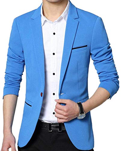 Business Wedding Nner Himmelblau Traje Slim Party Casual Leisure Simple Button 1 Estilo Hombre Blazer w1qTx0