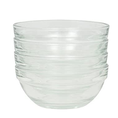 TFD Prep Bowl Ingredient Dishes. Includes Set of (4) 3.5 inch Glass Ingredient Bowls.