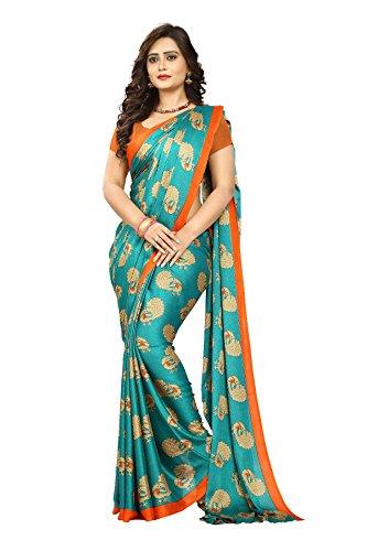 Jaanvi fashion Women's Peackock Printed Crepe Silk Kalamkari Printed Saree (Rama)