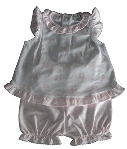 (Kissy Kissy Baby-Girls Infant Cottontail Duo Print Sunsuit-White With Pink-9 Months)