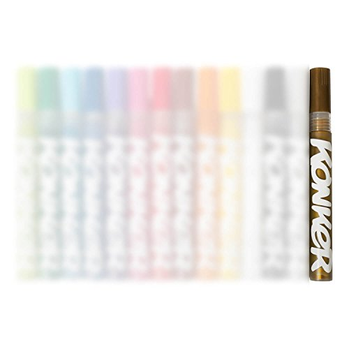 Konker Colors Acrylic Paint Markers - Endlessly Refillable - Permanent Artist Pigments - Opaque Matte Finish - Safe & Non Toxic - for Rocks Metal Wood Canvas Glass Paper Fabric - 2mm - Gold