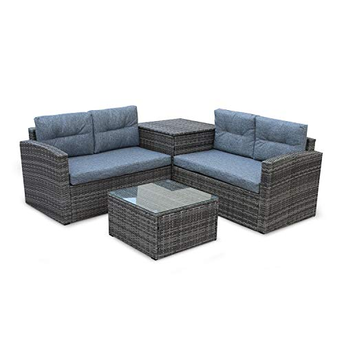 4 Pcs Patio Sofa Set Outdoor Wicker Rattan Furniture Conversation Set with Storage Cabinet and Coffee Table for Garden Backyard Pool (Grey Cushion) (Drying Coffee Patio)