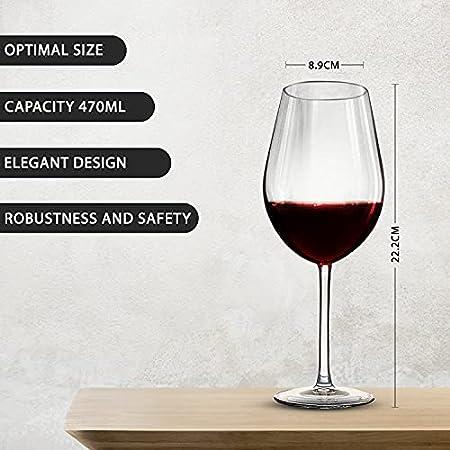 Hostelvia Copas de Vino Degustación 470 ml - Pack de 6 Copas Vino - Cristal Templado Resistente - Apto para Microondas y Lavavajillas