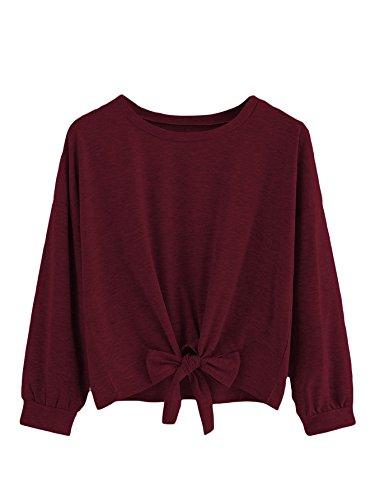 (Romwe Women's Cute Knot Front Drop Shoulder Sweatshirt Plain Round Neck Long Sleeve T-Shirt Crop Top Blouse Burgundy S)