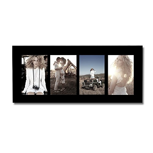 Adeco [PF0422] Decorative Black Wood Divided Collage Picture Photo Frame, Wall Hanging, 4 Openings, 3.5x5 inches