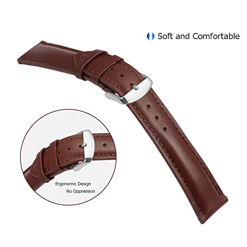 Quick Release Leather Watch Band 22mm Brown Replacement Watch Strap Genuine Polished Watch Clasp Buckle Gold Rose Padded Super Soft (18mm 20mm 22mm) by TStrap (Image #1)