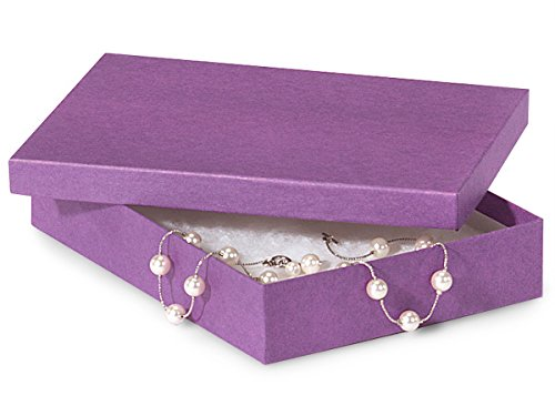 7x5x1-1/4'' Purple Jewelry Boxes w/ non-tarnish Cotton (Unit Pack - 100) by Better crafts
