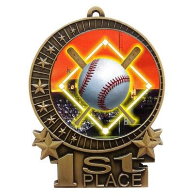 Express Medals 3 inch Baseball Diamond 1st Place Gold Medal with Neck Ribbon Award XMD (10-Pack)